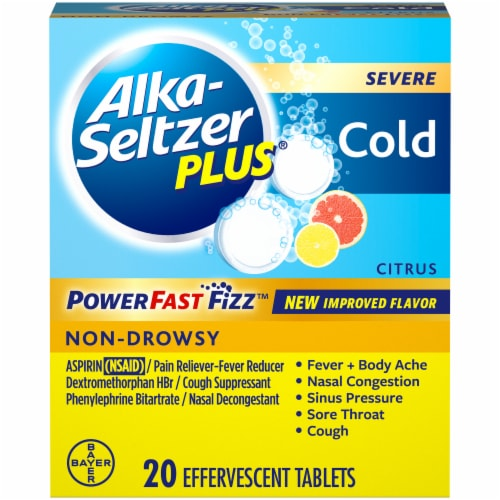 Alka-Seltzer Plus Citrus Severe Cold Relief Tablets 20 Count Perspective: front