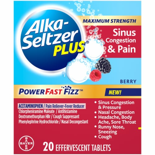Alka-Seltzer Plus® Berry Max Strength Sinus Congestion & Pain Perspective: front