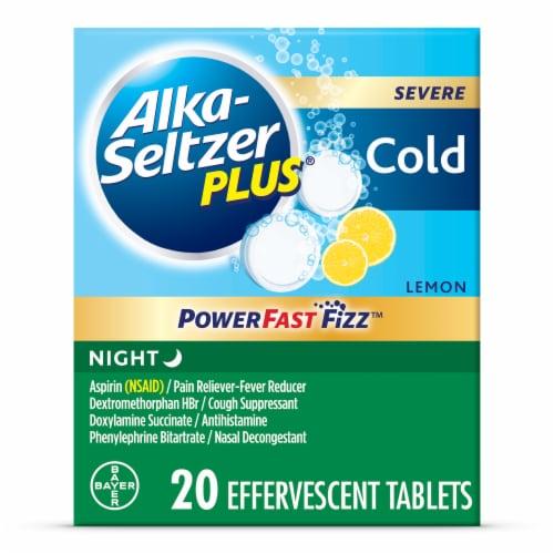Alka-Seltzer Plus Lemon Flavor Night Aspirin Effervescent Tablets Perspective: front