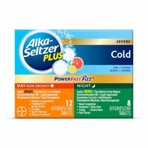 Alka-Seltzer Plus Citrus & Lemon Flavor Day & Night Aspirin Effervescent Tablets Variety Pack Perspective: front