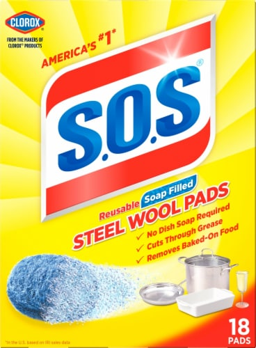 S.O.S. Soap-Filled Steel Wool Pads - Blue Perspective: front