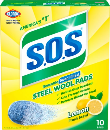 S.O.S. Lemon Steel Wool Soap Pads Perspective: front