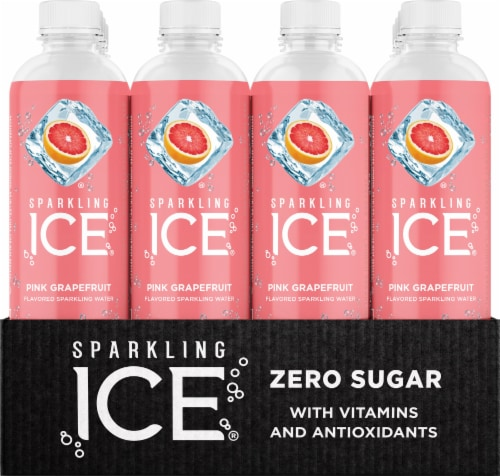 Sparkling Ice Pink Grapefruit Spring Water Perspective: front