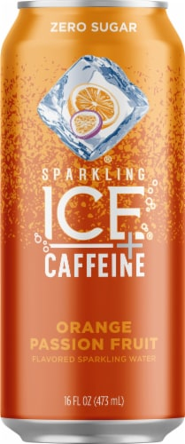 Sparkling Ice +Caffeine Orange Passionfruit Sparkling Water Perspective: front