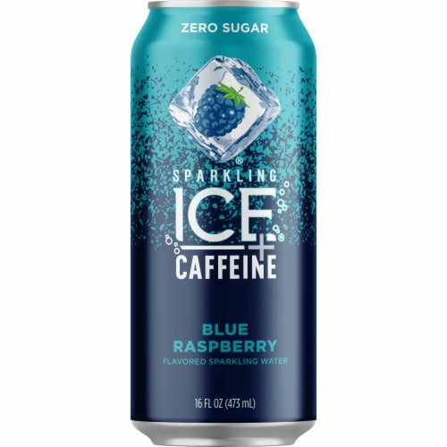 Sparkling Ice + Caffeine Blue Raspberry Sparkling Water Perspective: front