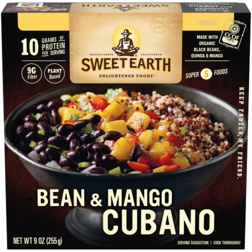 Sweet Earth Bean & Mango Cubano Frozen Meal Perspective: front