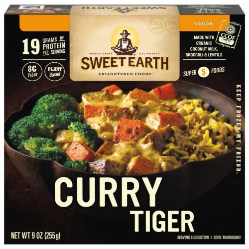 Sweet Earth Curry Tiger Frozen Meal Perspective: front