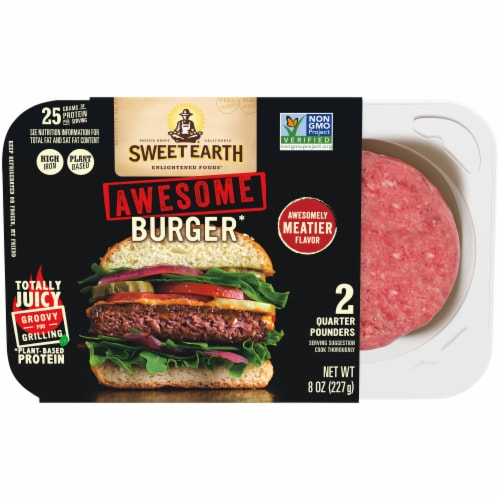 Sweet Earth Awesome Burger Patties Plant Based Protein Perspective: front