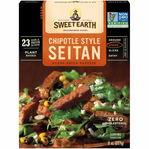 Sweet Earth Chipotle Style Seitan Strips Perspective: front
