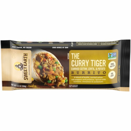 Sweet Earth Curry Tiger Burrito Perspective: front