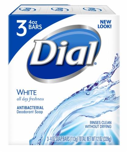 Dial White Antibacterial Deodorant Soap Bars Perspective: front