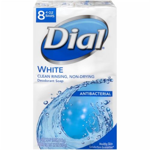 Dial White Antibacterial Deodorant Soap Bars Perspective: front