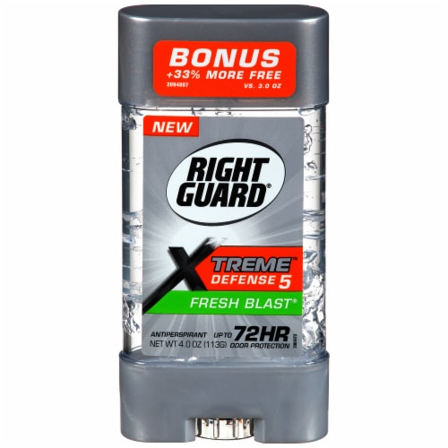 Right Guard Xtreme Defense 5 Fresh Blast Gel Deodorant Perspective: front