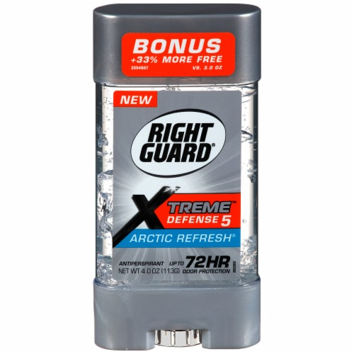 Right Guard Xtreme Defense 5 Arctic Refresh Gel Antiperspirant Perspective: front