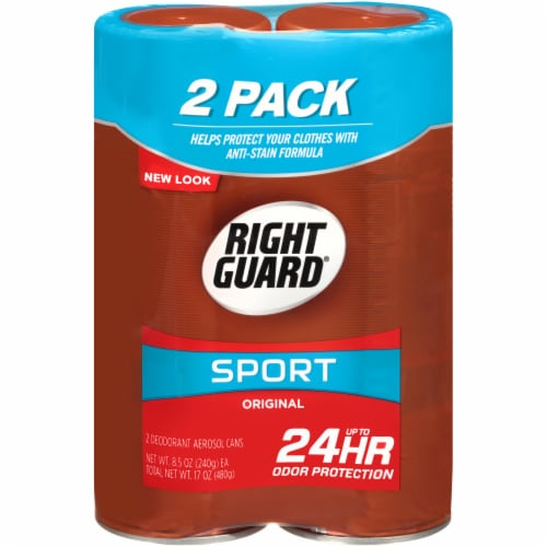 Right Guard Sport Original Deodorant Aerosol Cans Twin Pack Perspective: front