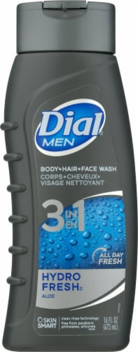 Dial Men Hydro Fresh 3 in 1 Body Hair & Face Wash Perspective: front