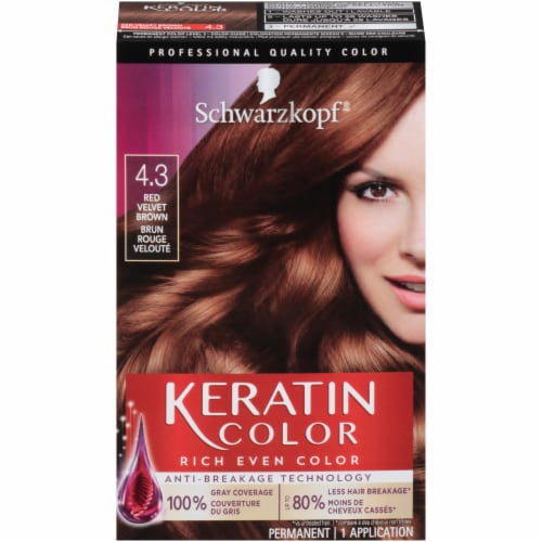 Schwarzkopf Keratin Color Red Velvet Brown 4.3 Hair Color Kit Perspective: front