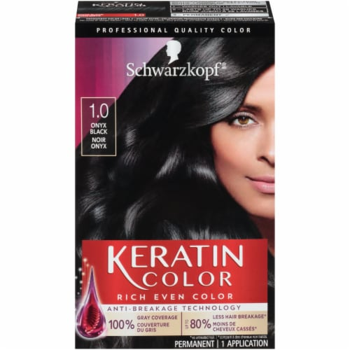 Schwarzkopf Keratin Color Black Onyx 1.0 Hair Color Perspective: front