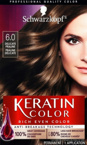 Schwarzkopf Keratin Color Delicate Praline 6.0 Hair Color Kit Perspective: front