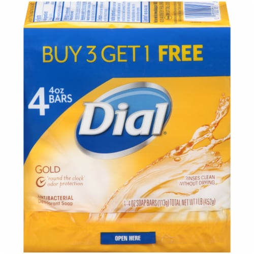 Dial Gold Antibacterial Deodorant Soap Bars Perspective: front