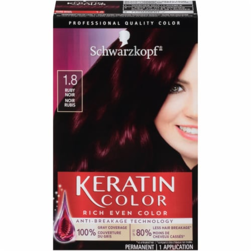 Schwarzkopf Keratin Color Ruby Noir 1.8 Hair Color Kit Perspective: front