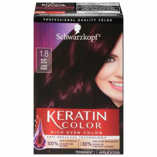Schwarzkopf Keratin Color 1.8 Ruby Noir Permanent Hair Color Kit Perspective: front
