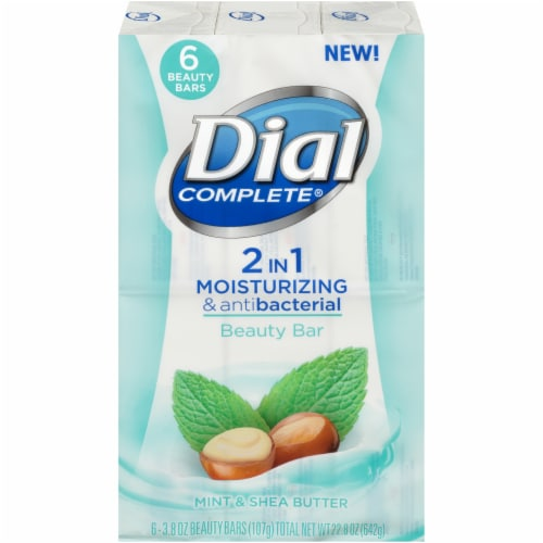 Dial Complete Mint & Shea Butter 2 in 1 Moisturizing & Antibacterial Soap Bars Perspective: front