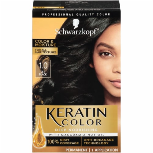 Schwarzkopf Keratin Color Jet Black Permanent Hair Color Perspective: front
