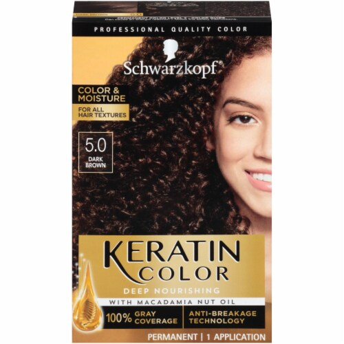Schwarzkopf Keratin Color Dark Brown Permanent Hair Color Perspective: front