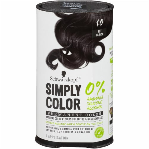 Schwarzkopf Simply Color 1.0 Jet Black Hair Color Perspective: front
