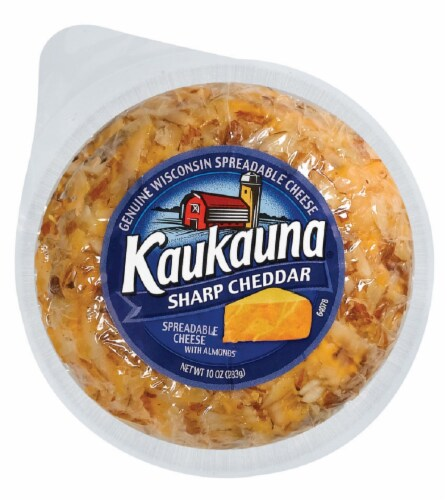 Kaukauna Sharp Cheddar Spreadable Cheese with Almonds Perspective: front
