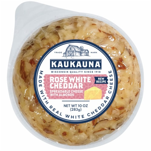Kaukauna® Rose White Cheddar Spreadable Cheese with Almonds Cheeseball Perspective: front
