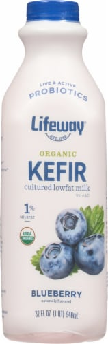 Lifeway Organic Kefir Low Fat Blueberry Milk Perspective: front