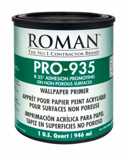Roman  R-35  Clear  Water-Based  Acrylic  Wallcovering Primer  1 qt. - Case Of: 6; Perspective: front