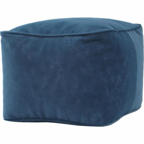Gold Medal 1BF11858124 Micro-Fiber Suede Bean Bag Ottoman, Navy Blue - Medium Perspective: front