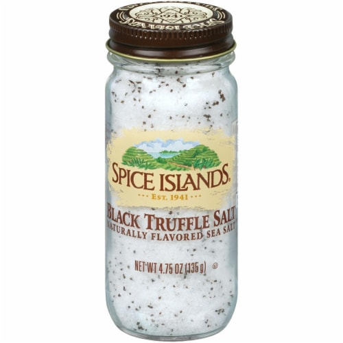 Spice Islands Black Truffle Salt Naturally Flavored Sea Salt Shaker Perspective: front