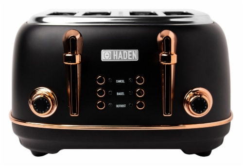 Haden Heritage 4-Slice Toaster - Black/Copper Perspective: front