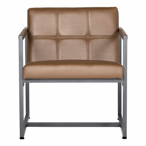 Studio Designs Home Camber Small Metal and Leather Accent Chair in Caramel Perspective: front