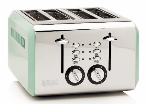 Haden Cotswold 4-Slice Wide Slot Toaster - Sage Green Perspective: front