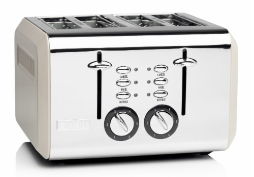Haden Cotswold 4-Slice Wide Slot Toaster - Putty Perspective: front