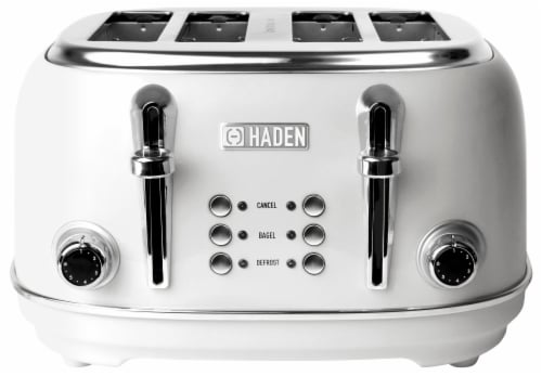 Haden Heritage 4-Slice Wide Slot Toaster - Ivory White Perspective: front