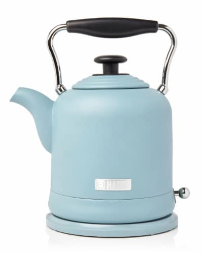 Haden Highclere Stainless Steel Cordless Electric Kettle - Poole Blue Perspective: front