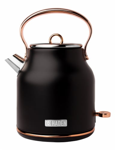 Haden Heritage Stainless Steel Electric Kettle - Black/Copper Perspective: front