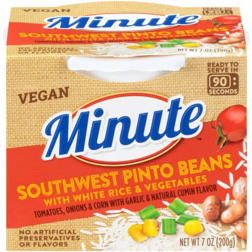 Minute Southwest Pinto Beans with White Rice & Vegetables Perspective: front