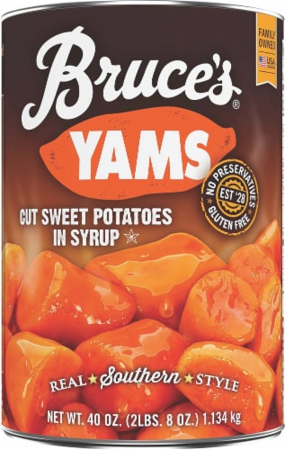 Bruce's Yams Cut Sweet Potatoes in Syrup Perspective: front