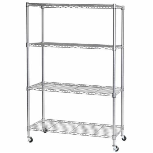 Seville Classics 4-Tier Steel Wire Shelving, Silver Perspective: front