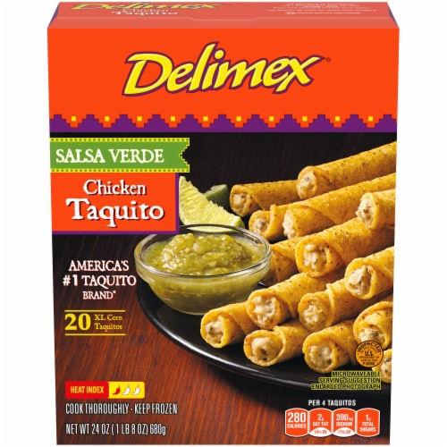 Delimex Salsa Verde Chicken Taquitos Perspective: front