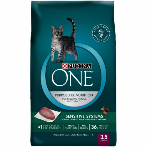 Purina One Sensitive Skin & Stomach Natural Adult Cat Food Perspective: front
