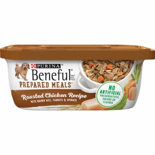 Beneful Prepared Meals Roasted Chicken Recipe Wet Dog Food 8 Count Perspective: front