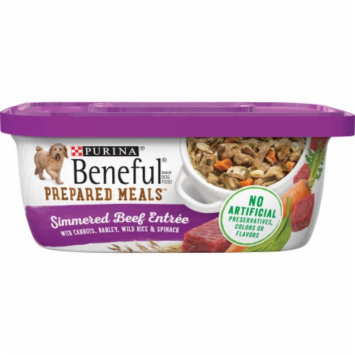 Beneful Prepared Meals Simmered Beef Entree Wet Dog Food Perspective: front